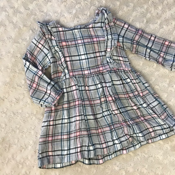 Carter's Plaid Dress Ruffles Gray Pink Size 9M